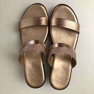 Italian Shoemakers - Rose Gold Wedge Sandals